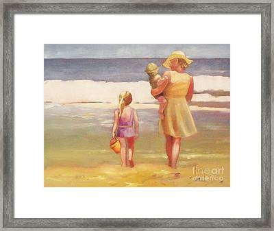 First Waves Beach Waves With Children And Mom  Framed Print