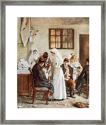 First Wordl War. Nurses With Wounded Soldiers. Poitiers Framed Print