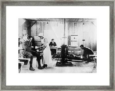 First World War First Aid Station Framed Print by Science Photo Library