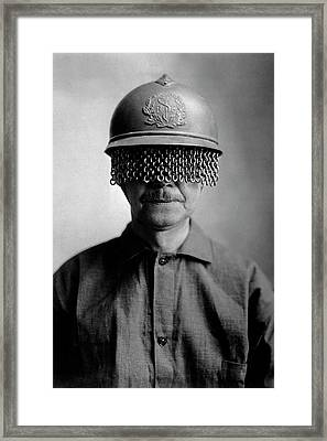 First World War Helmet Eye Screen Framed Print by Us Army/science Photo Library