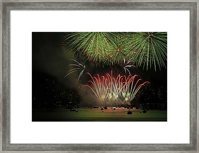Firworks In English Bay 2 Framed Print