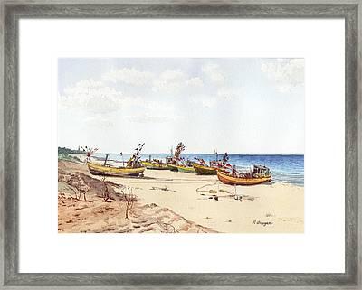 Fischerbootsanlegestelle Auf Der Ostsee Framed Print