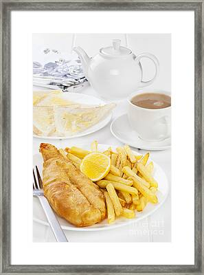 Fish And Chips Supper Framed Print by Colin and Linda McKie