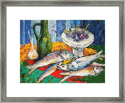Fish And Food Still Life Framed Print