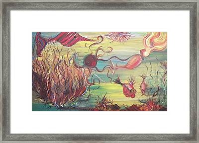 Fish And Mermaid Framed Print