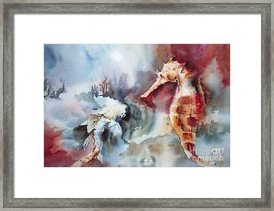Fish And Sea Horse Framed Print by Donna Acheson-Juillet