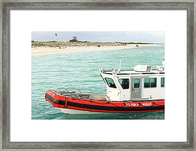 Fish And Wildlife Boat At Eastern Island Framed Print