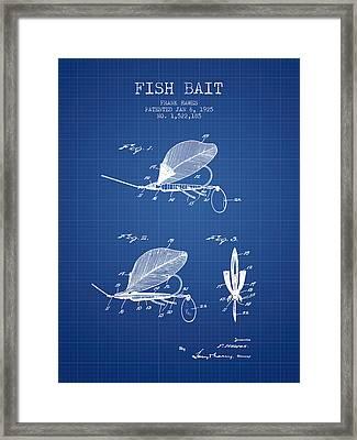 Fish Bait Patent From 1925 - Blueprint Framed Print