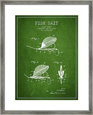 Fish Bait Patent From 1925 - Green Framed Print