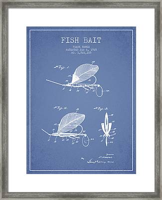 Fish Bait Patent From 1925 - Light Blue Framed Print