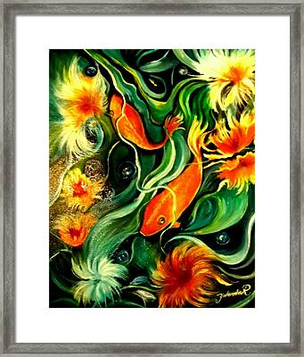 Fish Explosion Framed Print