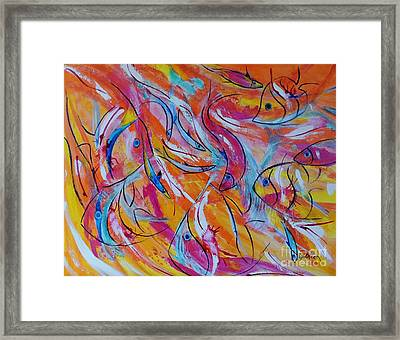 Framed Print featuring the painting Fish Frenzy by Lyn Olsen