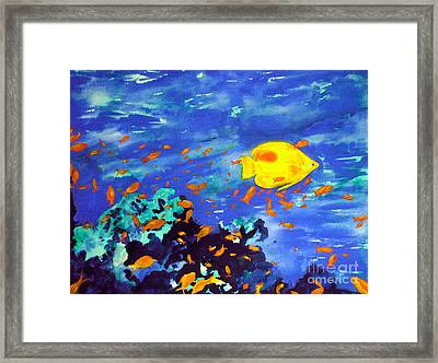 Framed Print featuring the painting Fish In The Sea by Mukta Gupta