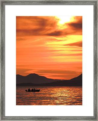Fish Into The Sunset Framed Print