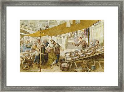 Fish Market On The Steps Of The Rialto Framed Print by Myles Birket Foster