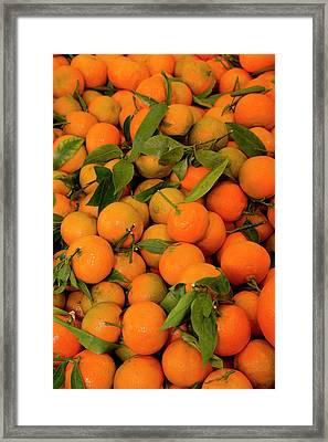Fish Market Tangerines On Display Framed Print