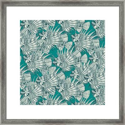 Fish Mirage Teal Framed Print by Sharon Turner