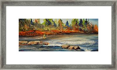 Framed Print featuring the painting Fish On 2 by Jani Freimann