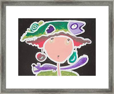 Fish On My Head Framed Print by Artists With Autism Inc