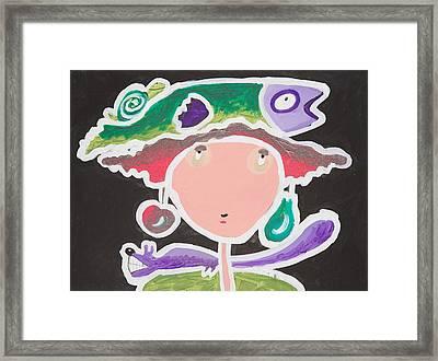 Fish On My Head Framed Print