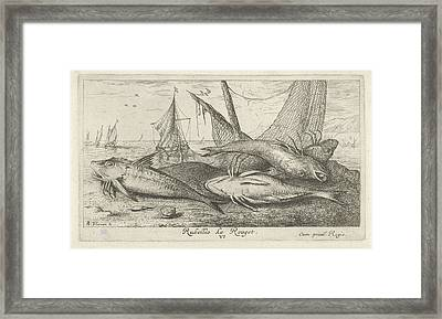 Fish On The Beach, Albert Flamen Framed Print by Albert Flamen