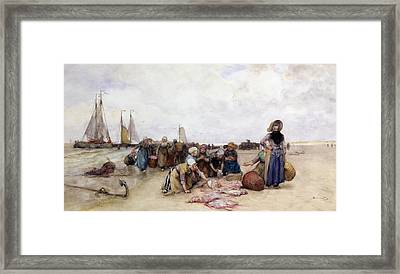 Fish Sale On The Beach  Framed Print by Bernardus Johannes Blommers