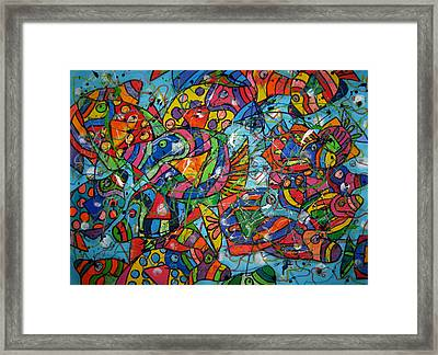 Fish School Framed Print by Karen Elzinga