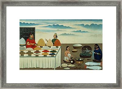 Fish Seller, Sweetmeat Maker And Sellers With Their Wares, Patna, C.1870 Gouache On Paper Framed Print by Shiva Dayal Lal