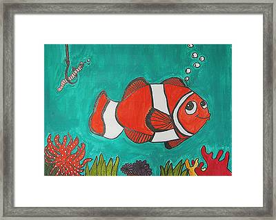 Fish Smiling At Lunch Framed Print by Fred Hanna