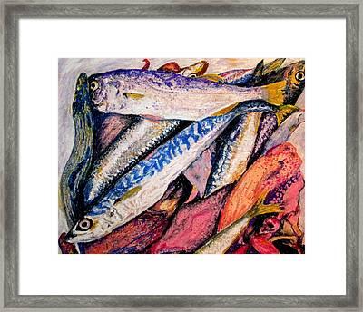 fish squid California painting Framed Print