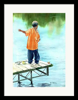 Fishing Lessons Framed Prints