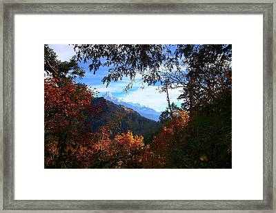 Fish Tail Mountain Framed Print by FireFlux Studios