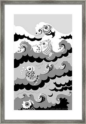 Framed Print featuring the digital art Fish Waves by Carol Jacobs