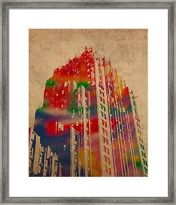 Fisher Building Iconic Buildings Of Detroit Watercolor On Worn Canvas Series Number 4 Framed Print by Design Turnpike