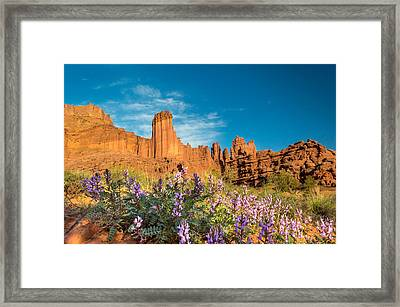 Fisher Towers Evening Framed Print