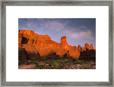 Fisher Towers Sunset Framed Print