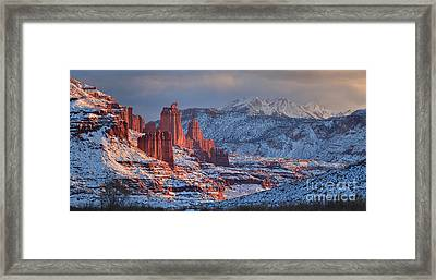 Fisher Towers Sunset Panorama Framed Print