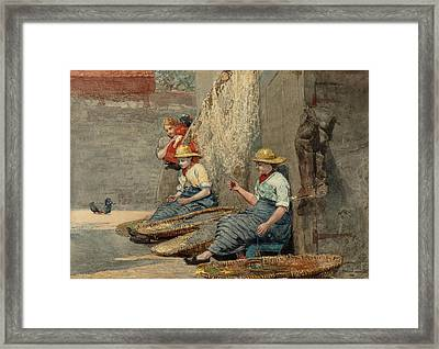 Fishergirls Coiling Tackle Framed Print by Winslow Homer