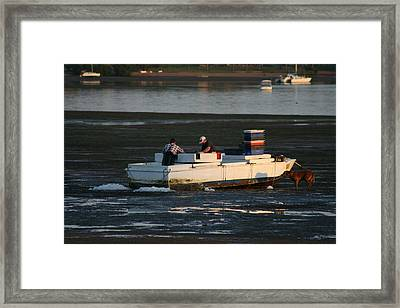 Fishermen And Dog Framed Print