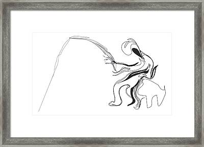 Fisherman And Pole Framed Print