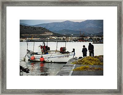 Fisherman And Son Framed Print