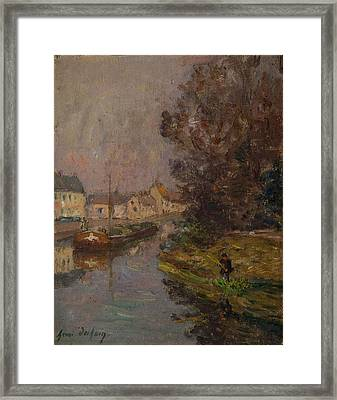 Fisherman At Douai  Framed Print by Henri Duhem