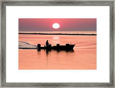 Fisherman At Sunrise Apalachicola Bay Florida  Framed Print by Bill Swindaman