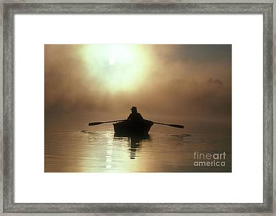 Fisherman At Sunrise Framed Print by Jim Corwin