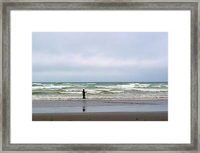 Fisherman Bracing The Weather Framed Print by Tikvah's Hope