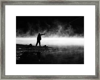 Fisherman Casting Framed Print by Priya Ghose