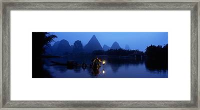 Fisherman Fishing At Night, Li River Framed Print by Panoramic Images