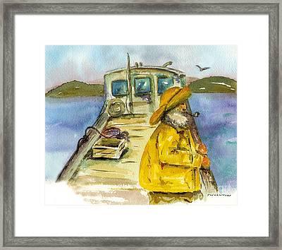 Fisherman Half Moon Bay Framed Print