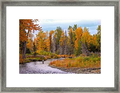 Fisherman In Alaska In Autumn Framed Print