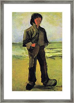 Fisherman On The Beach Framed Print by Vincent Van Gogh